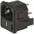 Schurter - 4301.0502 - Appliance Inlet w/Fusehldr; IEC; C14; 250VAC; 10A; 2P; Pnl Mt-Snap-1.5mm; QC; Int. Wired
